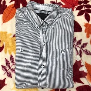 Vans striped gray and white button down shirt
